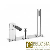 Смеситель для установки на борту ванны в три отверстия на пластине, без рычага Bellosta N-Joy 01-0101/20/P/A Хром