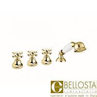 Смеситель для установки на борт ванны в четыре отверстия Bellosta Romina 04-0301/20/C Золото