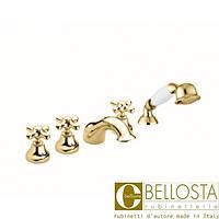 Смеситель для установки на борт ванны в пять отверстий Bellosta Romina 04-0301/2/C Золото