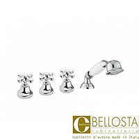 Смеситель для установки на борт ванны в четыре отверстия Bellosta Romina 01-0301/20/C Хром