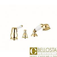 Смеситель для установки на борт ванны в три отверстия, без излива Bellosta Noel 04-1501/20/** Золото