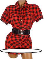 Рубашка в клетку с поясом (в расцветках) Оригинальная, слегка приталенная рубашка-блузка. Материал качественны