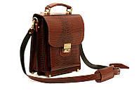 Планшет-сумка из натуральной кожи коричневой крокко СПБ-1