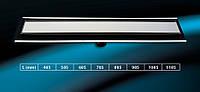 """Душевой канал из нержавеющей стали 485 мм с горизонтальным фланцем  с решеткой """"Зеркальная"""""""