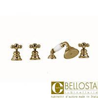 Смеситель для установки на борту ванны в четыре отверстия Bellosta Charlotte **-0701/20/C Бронза, Медь