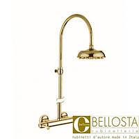Настенный термостат с душевой колонной и верхним душем D 200 мм Bellosta Pascal **-1011/4A Золото, Матовое Золото