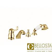 Смеситель для установки на борт ванны в четыре отверстия Bellosta Pascal **-1001/2 Золото, Матовое Золото