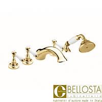 Смеситель для установки на борт ванны в пять отверстий Bellosta Edward Lever 04-0801/2/L* Золото