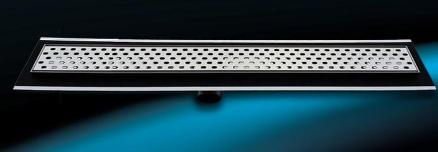 """Душевой канал Inox Style из нержавеющей стали 585 мм с горизонтальным фланцемс решеткой """"Овал"""" L58509"""