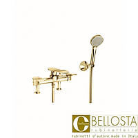 Смеситель для установки на борт ванны на ножках Bellosta Paloma **-6001/3 Золото