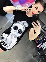 Платье туника с рисунком и паетки