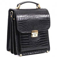Планшет-сумка из натуральной кожи черной крокко СПБ-1