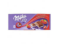 Шоколад Милка клубничный йогурт молочный 100 гр