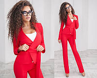 Красивый стильный модный классический деловой женский брючный костюм-тройка  + цвета
