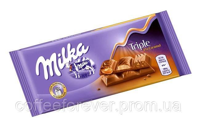Шоколад Милка Triple Caramel flavor молочный 100 гр, фото 2