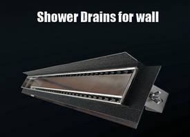 Душевой канал из нержавеющей стали с вертикальным фланцем под стену 1085*80*80