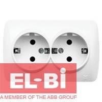 Розетка с заземлением 2-ая накладная El-Bi ALSU белый 504-010200-907