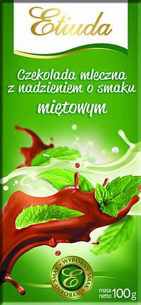 Молочный шоколад Etiuda c мятной начинкой ,  100 гр   , фото 2