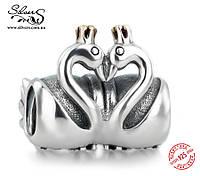 """Серебряная подвеска-шарм Пандора (Pandora) """"Пара лебедей"""" для браслета"""