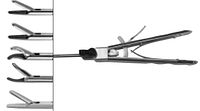 Иглодержатель лапароскопический , изогнут влево, в комплекте, вольфрамовый карбид. С каналом для промывания.