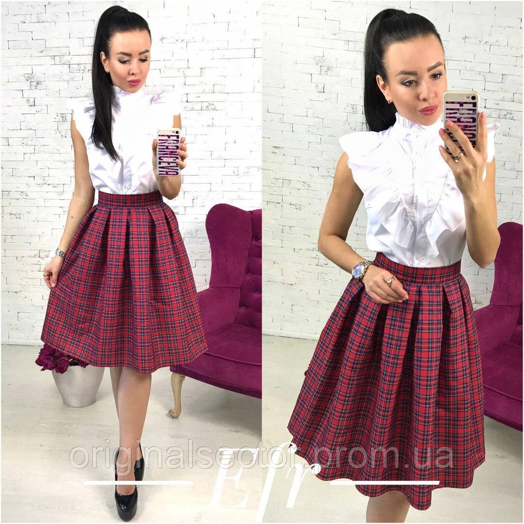 ef5348191f1 Женская юбка - колокол в клетку - интернет-магазин