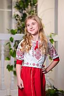 Платье вышиванка со шлейфом