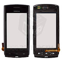 Сенсорный экран для мобильного телефона Nokia 500, с передней панелью, б/у, черный