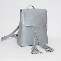 Женский кожаный рюкзак серебристый флотар 03