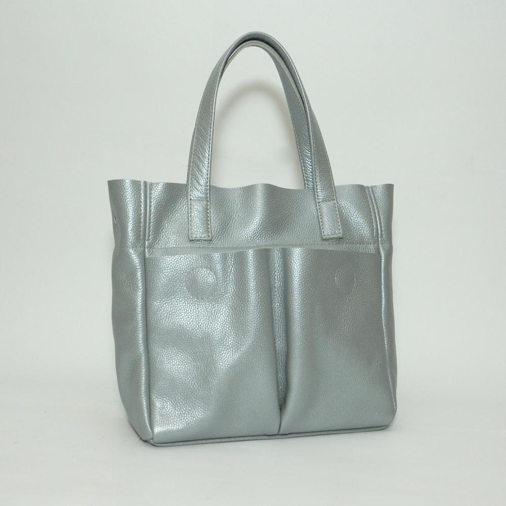 Женская кожаная сумка 02 серебристый флотар 01020111