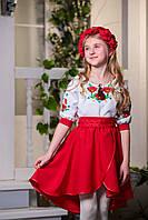 Красное платье вышиванка для девочки