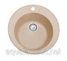 Бежевая гранитная мойка круглая 47 см Fosto Мойка D470 SGA-800