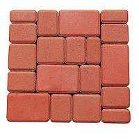 Плитка тротуарная, сухопрессованная, старый город (h 6см) (красная)