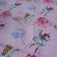 Ткань c феями на мелкой розовой полоске