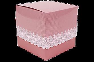 Подарункова упаковка для чашки з принтом (Ажур) Рожева, фото 2
