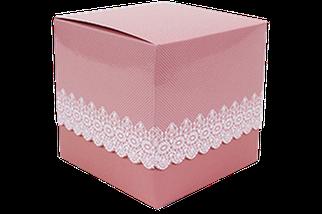 Подарункова упаковка для чашки з принтом (Ажур) Рожева