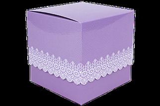 Подарункова упаковка для чашки з принтом (Ажур) фіолетова
