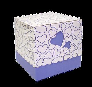 Подарункова упаковка для чашки з принтом (серце) Блакитна