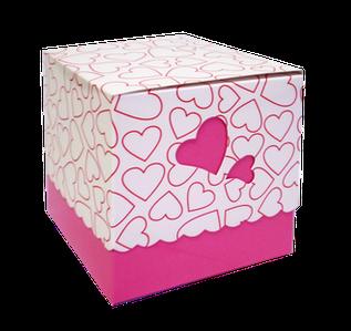 Подарункова Упаковка для чашки з принтом (серце) Рожева