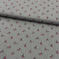 Ткань с маленькими розовыми тюльпанами 1см на сером фоне