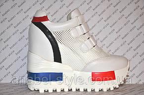 Криперсы летние на платформе белого цвета на липучках с яркими вставками, фото 2