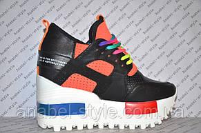 Криперсы летние на платформе черного цвета с яркими вставками шнуровка, фото 2