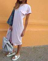 Платье летнее ткань трикотаж ,Цвета :розовый,серый,нежно-голубой, супер качество акор № 12909