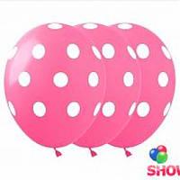 Воздушный шар в горошек 30 см розовый