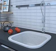 Квадратная кухонная мойка из искусственного гранита серая 48 см COSH 210