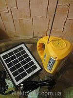 Радио-Фонарь светодиодный 7655 + солнечная батарея + USB Зарядное+радио/мп3-плеер