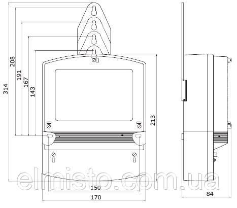 Габаритный чертеж счетчика электроэнергии НIК 2301 АП1
