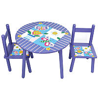Стол и 2 стула Tilly 2407-101 (W02-883(H916) Цветы круглый