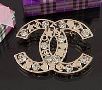 Брошь Шанель (Chanel) золотистая 4 см