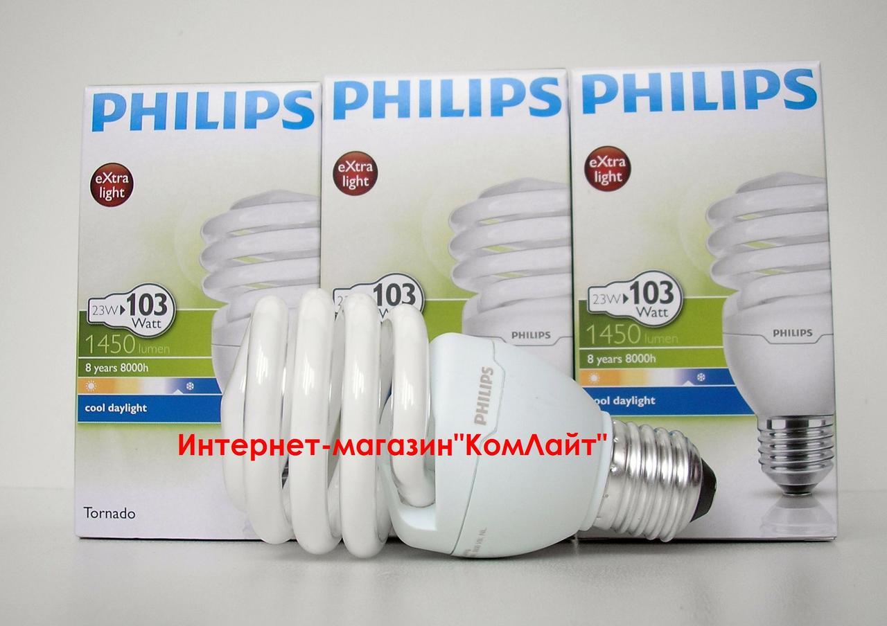 Лампа энергосберегающая PHILIPS Tornado 23W/865 T2 E27 230V (Китай)