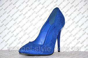 Туфли лодочки женские на шпильке замшевые цвета электрик, фото 2